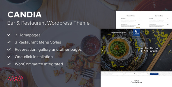 Download Candia - Bar & Restaurant WordPress Theme Restaurant Wordrpess Themes