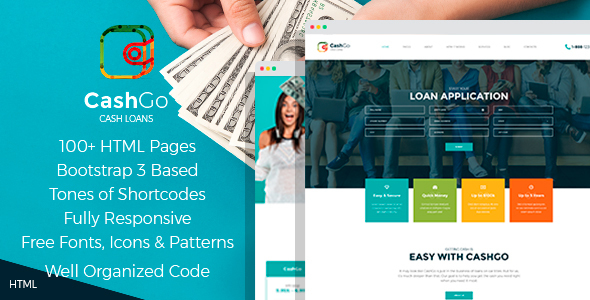 Download CashGo - Fast Loan Financial Company HTML Template with Visual Page Builder Fast Html Templates