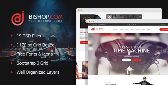 Download Dj Bishop - Dj Personal Page PSD Template Music Joomla Templates