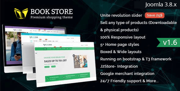 Download Bookstore - Responsive Joomla Ecommerce Template Ecommerce Joomla Templates