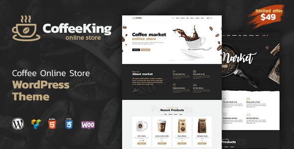 Download Coffee King - Coffee Shop, Coffee House and Online Store WordPress Theme Store WordPress Themes