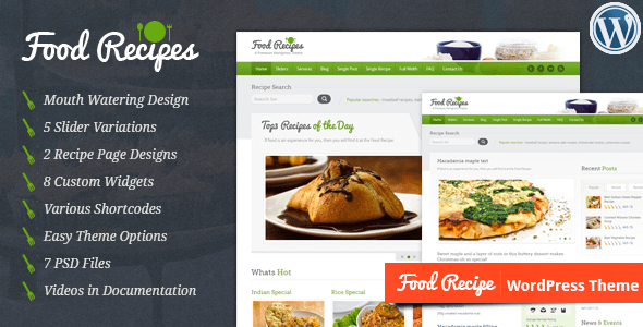 Download Food Recipes - WordPress Theme Recipe WordPress Themes