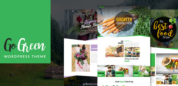 Download GoGreen: Organic Food, Farm, Market Business WordPress Theme Green WordPress Themes
