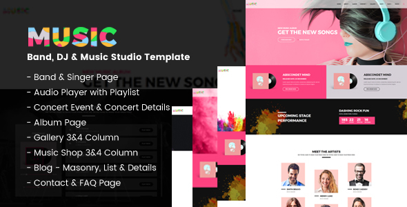 Download Music - A Fresh Band, DJ & Music Studio Template Band Html Templates