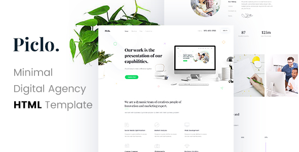 Download Piclo. - Minimal Digital Agency HTML Template Simple Html Templates