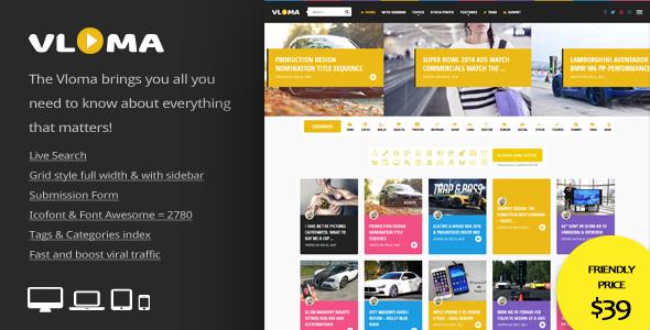 Download Vloma Grid - A Responsive WordPress Video Blog Theme Grid WordPress Themes