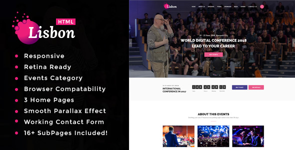 Download Lisbon - Conference & Event HTML Template Event Html Templates
