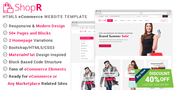 Download ShopR - eCommerce HTML Template Ecommerce Joomla Templates
