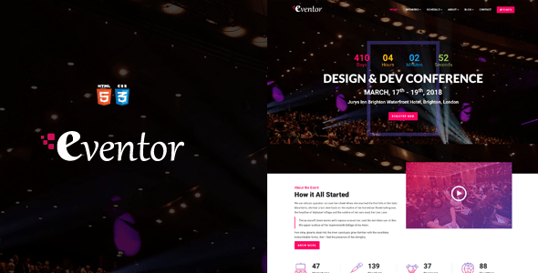 Download Eventor - Conference & Event HTML Template Event Html Templates