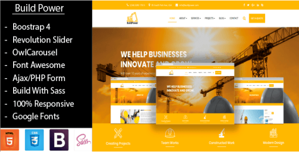 Download BuildPower – Construction Business HTML Template Business Html Templates