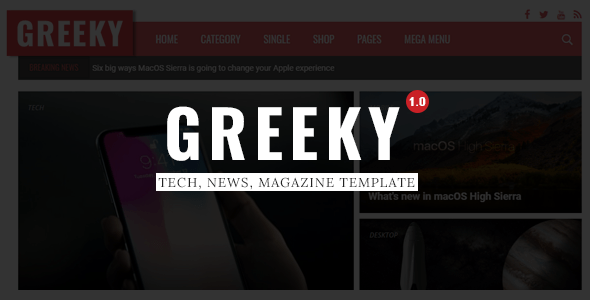 Download Greeky - Technology News, Magazine HTML Template Magazine Html Templates