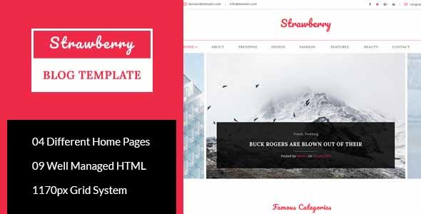Download Strawberry - Minimal Blog HTML Template Simple Html Templates
