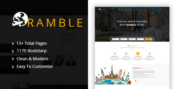 Download Ramble - Tour & Travel Agency HTML Template Travel Html Templates