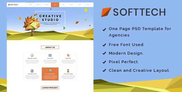 Download Softtech - Onepage PSD Template Onepage Blogger Templates