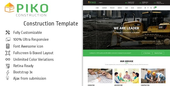 Download Pikocon - Construction Company Building Business Joomla Template Yellow Joomla Templates