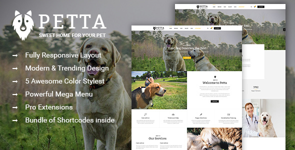 Download Petta - Responsive Joomla Template for Pet Care Service Shop Yellow Joomla Templates