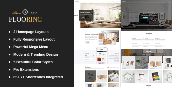 Download Flooring -  An Ideal Responsive Joomla Template For Interior Stores Store Joomla Templates