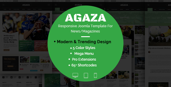 Download Agaza - Responsive Joomla Template For News/Magazines Magazine Joomla Templates