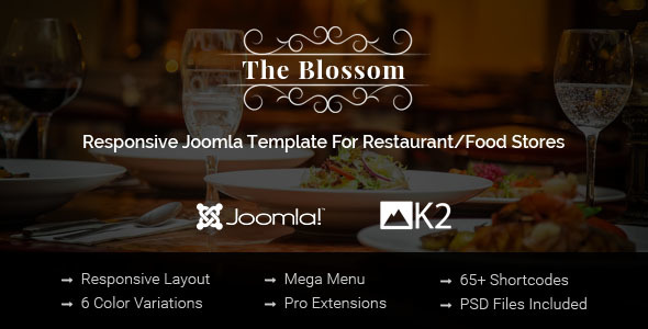 Download Blossom - Responsive Joomla Template For Restaurant/Food stores Store Joomla Templates