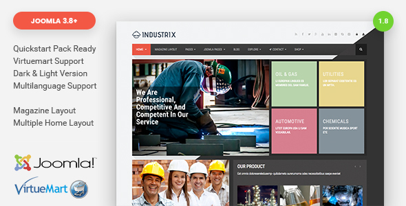 Download Industrix - Joomla Responsive Business Template Job Joomla Templates