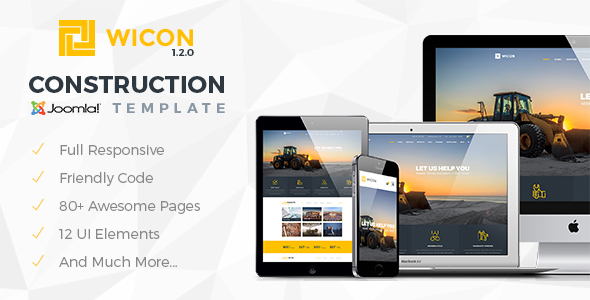 Download WICON | Construction & Building Joomla Template Music Joomla Templates