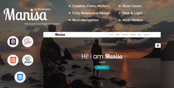 Download Manisa - Personal One Page Template Onepage Blogger Templates