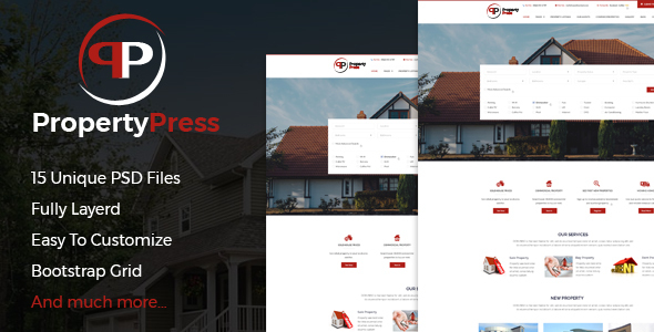 Download PropertyPress PSD Template Real Estate Joomla Templates