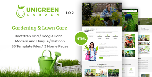 Download Unigreen - Gardening and Lawn Care Service HTML Template Green Html Templates