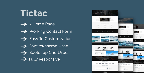 Download Tictac - Onepage Creative Multipurpose Template Onepage Blogger Templates
