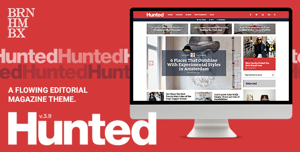 Download Hunted - A Flowing Editorial Magazine Theme 3 Column WordPress Themes