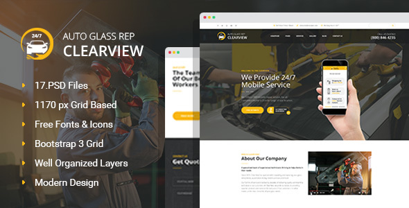 Download ClearView - Auto Glass Repair, Replacement and Window Tinting PSD Template Car Joomla Templates