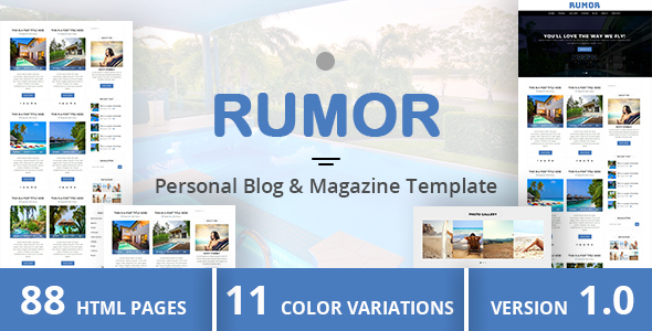Download RUMOR - Personal Blog & Magazine Template Pink Html Templates