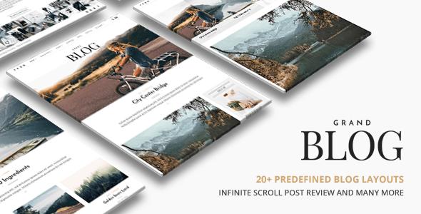 Download Grand Blog   Responsive Blog Theme 2 Column WordPress Themes