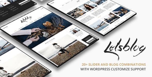 Download Lets Blog   Responsive Blog WordPress Theme 2 Column WordPress Themes