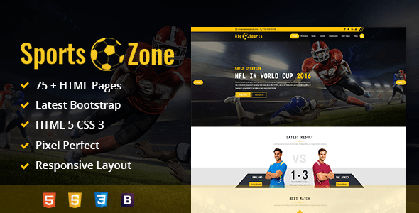 Download SportsZone: Sports Club, New & Game Magazine Mobile Responsive Bootstrap HTML Template Game Html Templates