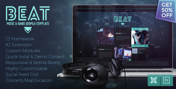 Download Beat - One Page Music & Band Joomla Template Music Joomla Templates