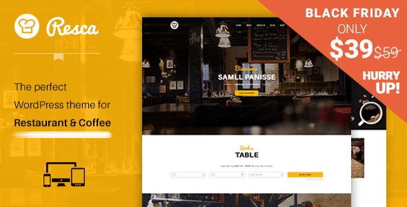 Download WordPress Restaurant Theme - Resca Joomla WordPress Themes