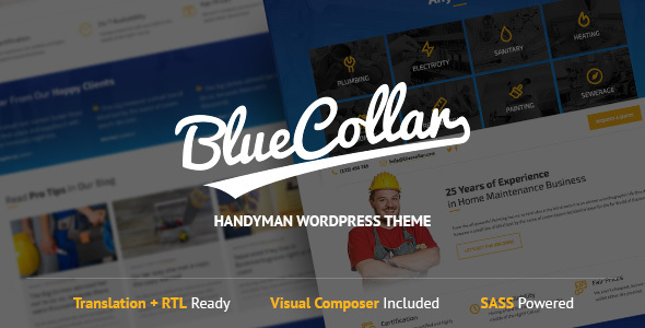 Download Blue Collar - Handyman WordPress Theme Blue WordPress Themes