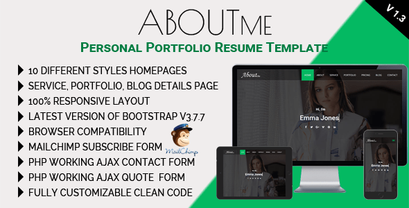 Download AboutMe - Personal Portfolio Resume Template Html5 Blogger Templates
