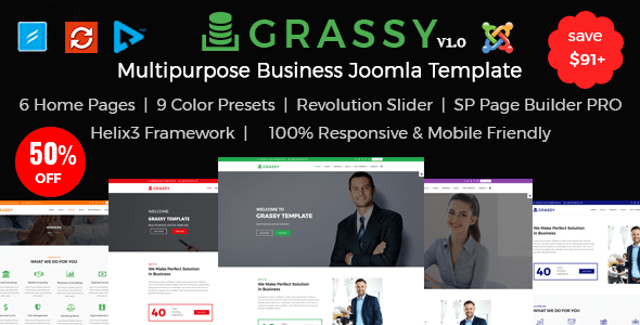 Download Grassy - Joomla Responsive Multipurpose Business Template Blog Joomla Templates
