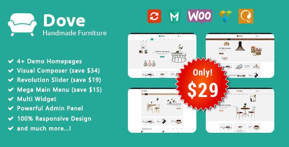 Download Dove - Handmade Furniture Responsive WooCommerce WordPress Theme Furniture WordPress Themes