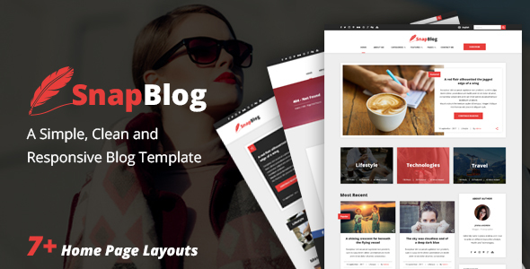 Download Snap Blog - A Simple & Clean Responsive HTML Blog Template Simple Html Templates