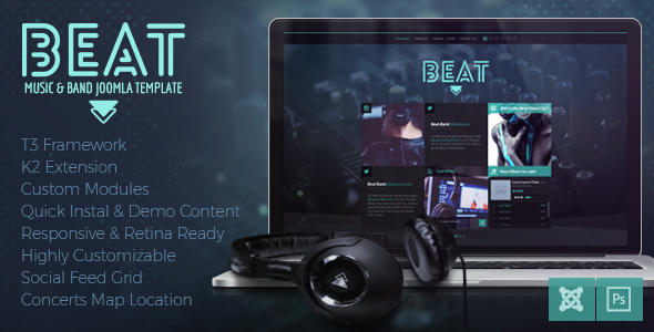Download Beat - One Page Music & Band Joomla Template Event Joomla Templates