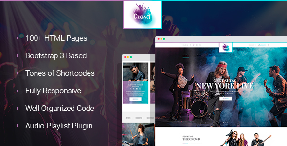 Download TheCrowd - Rock Band Page HTML Template with Page Builder Band Html Templates