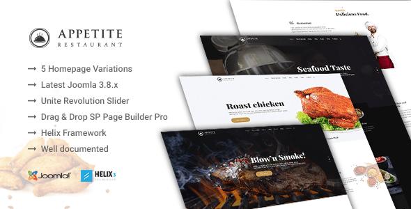 Download Appetite - Restaurant / Food Service Joomla Template Restaurant Joomla Templates