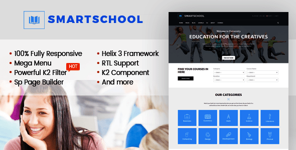 Download SmartSchool - Creative Responsive School, Education Joomla Template With Page Builder Elegant Joomla Templates