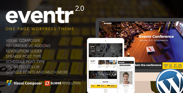 Download Eventr - One Page Event WordPress Theme Event WordPress Themes