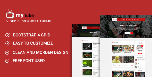 Download Mytube - Video Blog and Magazine Ghost Theme Fast Blogger Templates