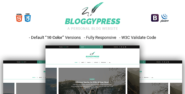 Download BloggyPress   Responsive Personal Blog HTML5 Template Youtube Blogger Templates