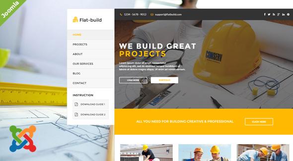 Download Flatbuild - Construction Joomla Template Amp Joomla Templates